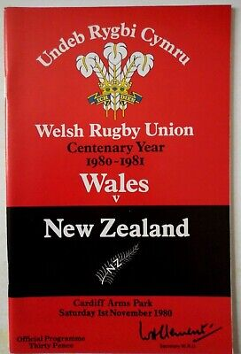 1980 WALES v NEW ZEALAND RUGBY UNION PROGRAMME with TICKET