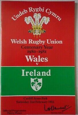 1981 WALES v IRELAND RUGBY UNION PROGRAMME with TICKET