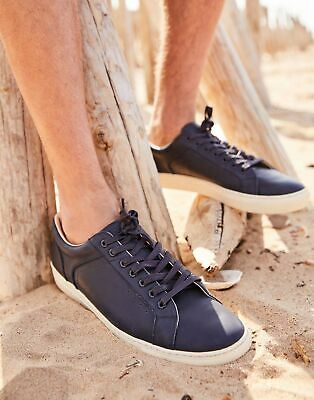 Joules Mens Parker Leather Trainers in FRENCH NAVY Size Adult Size 12