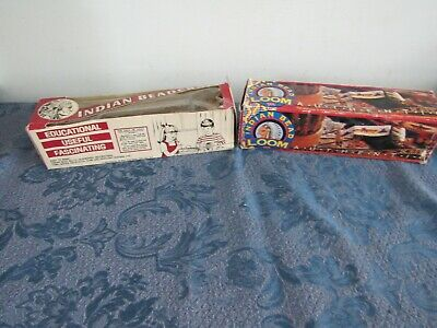 2 Vintage Indian Bead Looms USA With Beads Walcraft Tandy