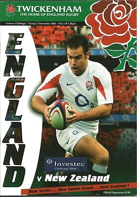 ENGLAND v NEW ZEALAND ~ RUGBY MATCH OFFICIAL PROGRAMME. 5th NOVEMBER 2006