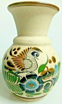Handcrafted Mexican Artisan Pottery Jar Vase Glazed Paint Textured Floral Signed
