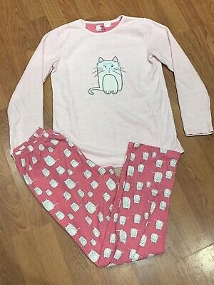 Girls Pink Cat Fleece Pyjamas Set Age 12-13Yrs Great Condition
