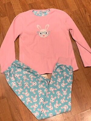 Girls Pink Bunny Fleece Pyjamas Set Age 11-12Yrs Great Condition