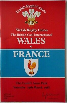 1988 WALES v FRANCE RUGBY UNION PROGRAMME with TICKET