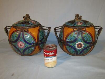 "Pair Large 10"" Antique Japanese Meiji Cloisonne Bulbous Covered Urns / Vases"