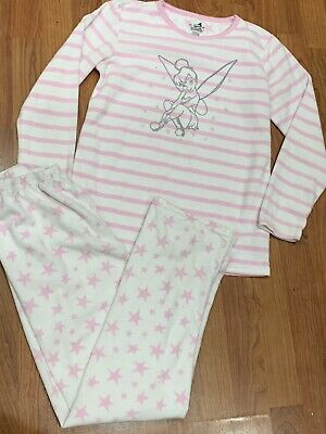 Girls Pink Striped Tinkerbell Fleece Pyjamas Set Age 11-12Yrs Great Condition