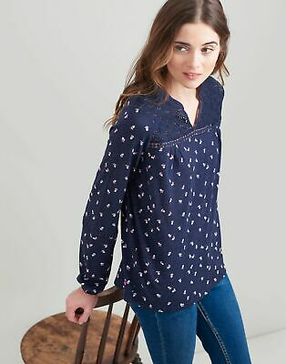 Joules Womens Dolly Woven And Jersey Mix Top in FLOWER BUDS Size 10
