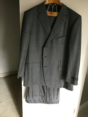 Ermenegildo Zegna Mens Suit-64 R-3 button-Wool-Switzerland-Gray-Neiman Marcus