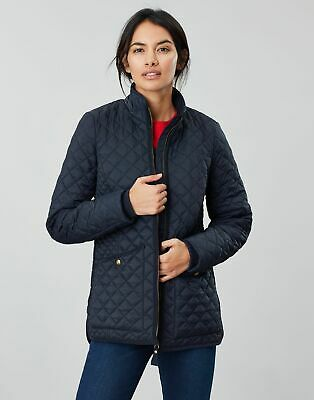Joules Womens Daleview Long Quilted Coat in MARINE NAVY Size 20