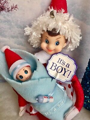 """ELFKIN BABY"" Sweet little BOY, Red Bodied Christmas ""Shelf Sitting"" ELF doll"