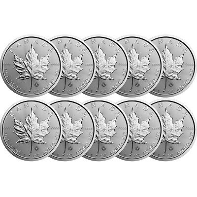 2020 Canada Silver Maple Leaf 1oz BU Coin 10 Piece Lot in Flips