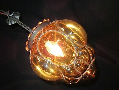 Vtg Deco Era Glass AMBER Shade in Wire Frame Chandelier Ceiling Fixture 1940's