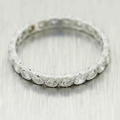 1930's Antique Art Deco Platinum 0.60ctw Diamond Eternity Wedding Band Ring