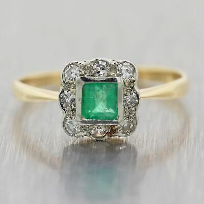 1930's Antique Art Deco 14k Yellow Gold 0.35ctw Diamond & Emerald Ring