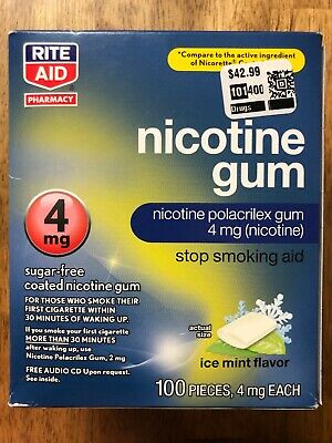 Rite Aid Nicotine Gum 100 Pieces 4mg Each ICE MINT  EXP 09/2020 NEW SEALED