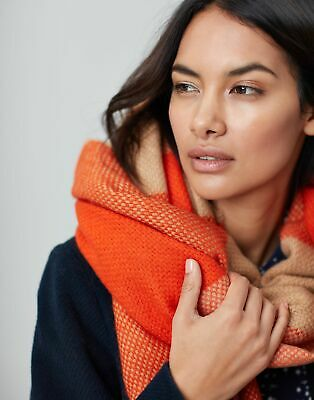 Joules Womens Meadow Basket Weave Scarf in ORANGE CHECK in One Size