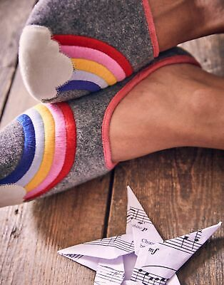 Joules Womens Slippet Felt Character Mule Slippers in GREY RAINBOW Size S