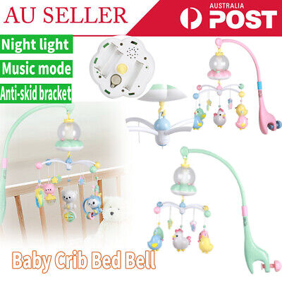 Baby Crib Mobile Bed Cot Night Light Hanging Bell Toy Music Box Rattle Bed Bell