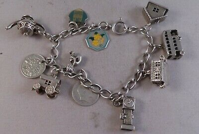 Good Solid Silver Charm Bracelet 5 Quality Opening Charms + 2 Enamel