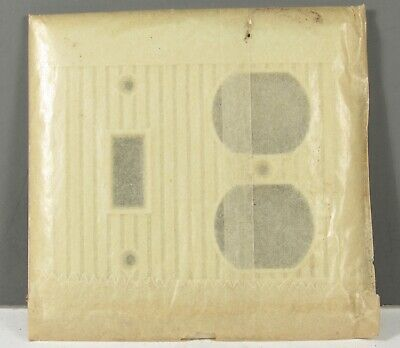 Vintage Sierra Ivory Ribbed Bakelite Combo Switch /& Outlet Cover Plate 4 1//2/""