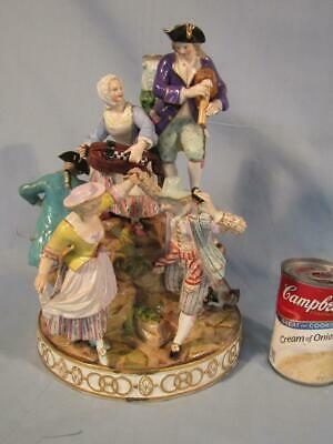 "Large 12"" Meissen Porcelain 6 Figure Revelers Group / Candelabra Base"