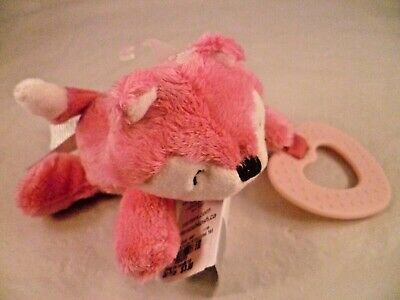 NWT Carters Pink Fox Plush Stuffed Salmon White Lovey Toy Baby Girl Gift 66935