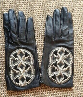 Authentic Embellished Leather chanel gloves, Brand New No Box, Black