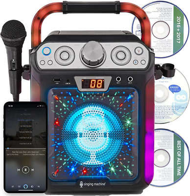 Singing Machine SML682BTW Bluetooth and CD Karaoke Machine with LED Lights and