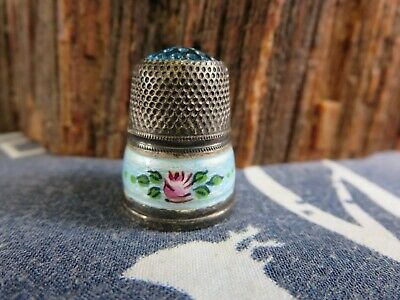 Antique Germany 935 Sterling Silver 7 Guilloche Enamel Thimble Handpainted  L1