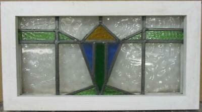 "OLD ENGLISH LEADED STAINED GLASS WINDOW Pretty Geometric Design 20.75"" x 11.5"""