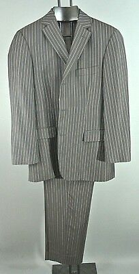 HUGO BOSS Mens 2pc Stripped Brown Suit SET 42 R Virgin Wool *1008 3 Button front