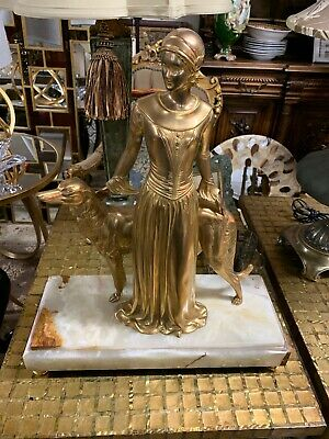 Art Deco Large Bronze Lady With Dog On Marble