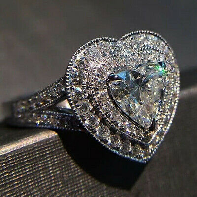 Charm Women 925 Silver Wedding Rings Heart Shaped White Sapphire Ring Size 8