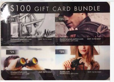 $100 Value eOutlet Stores Online Shopping Gift Card Bundle NEW