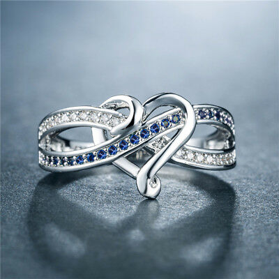 Romantic Heart Rings for Women 925 Silver Jewelry Blue Sapphire Ring Size 7