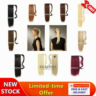 AAA+ Real Wrap on Ponytail Hair Extensions Natural Clip Ponytail as Human Blonde