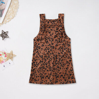 Toddler Kids Baby Girls Clothes Leopard Bib Dress Braces Skirts Autumn Outfits