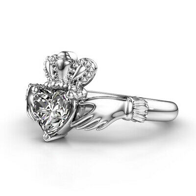 Heart Women 925 Silver Rings White Sapphire Wedding Band Ring Size 6-10