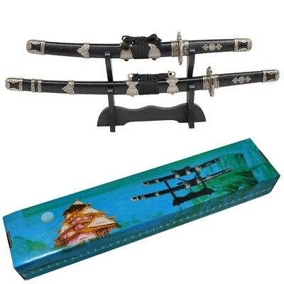 Japanese Katana Samurai Sword Sakura Style Set of 2 with Display Stand New