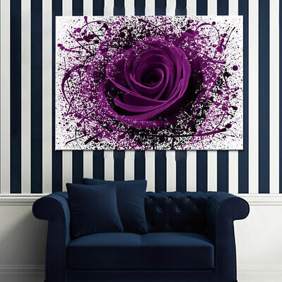 Large Modern Purple Rose Flowers Canvas Print Unframed Pictures Wall-Art Decor Y