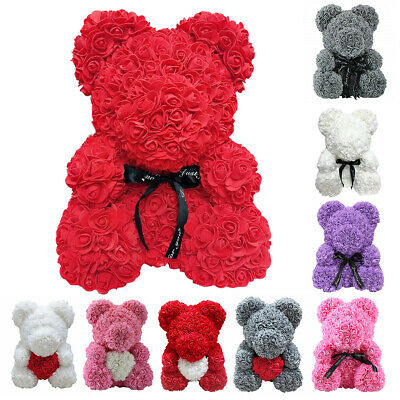 Lovely Rose Bear Teddy Bear Doll Foam Flowers Rose Girls Birthday Gift Kids +Box
