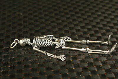 100% silver 925 personality flexible human skull pendant figure necklace statue