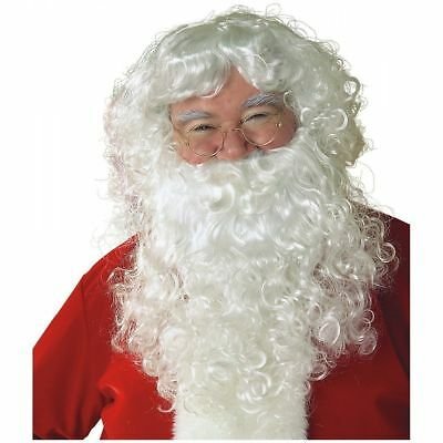 Father Christmas Santa Claus Nicholas Wig and Beard Adult Fancy Dress Costume**