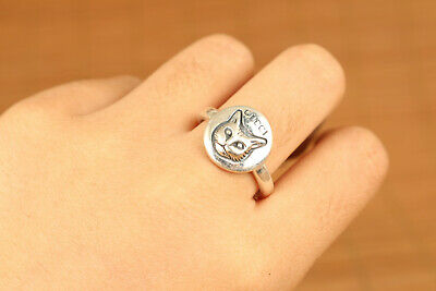 925 solid silver fashion man / woman cat statue ring size 19.5HK 8.8US