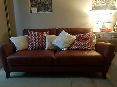 DARK RED 3 seater leather sofa, lightly used and in ...