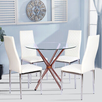 Daytona Round Clear Gl Dining Table With Brushed Gold