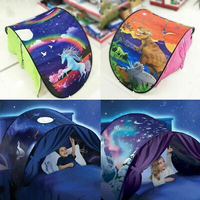Kids Baby Dream Bed Tent Snowflake Dinosaur Foldable Pop Up Xmas Gift Toy Tent