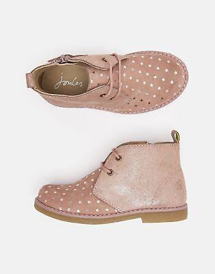 Joules Girls Woodland Leather Casual Boots - SOFT PINK MOUSE