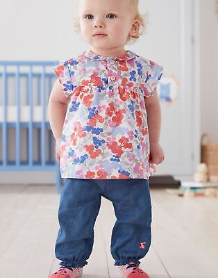 Joules Baby Brenna Woven Top Shirt And Trouser Set in WHITE FLORAL